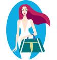 young stylish beautiful woman wearing luxury white vector image vector image