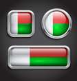 Madagascar flag glass buttons vector image