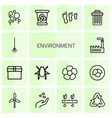 14 environment icons vector image vector image