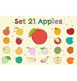 Big set of apples with vintage colors vector image vector image