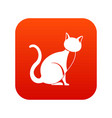 black cat icon digital red vector image