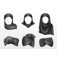 black turban and hijab indian and arab headdress vector image