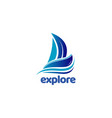 blue sail ship explore logo symbol vector image