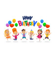 boys and girls with the balloons and birthday vector image vector image