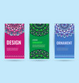 business cards with mandala elegant cover vector image vector image
