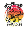 california beach paradise print for t-shirt vector image vector image