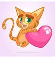 Cartoon funny kitty holding a heart