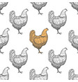 chicken vintage engraved seamless pattern vector image vector image