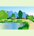city park wooden bench street lamp river green vector image vector image