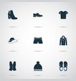 clothes icons set with boots sandal briefs vector image vector image