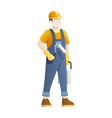 construction worker hold paint equipment vector image vector image