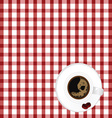cup of coffe with bean on tablecloth vector image
