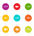 dap fish icons set flat style vector image vector image