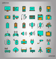 device and technology color line icons perfect vector image vector image