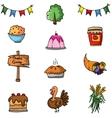 Doodle of element thanksgiving set vector image