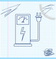electric car charging station line sketch icon vector image vector image