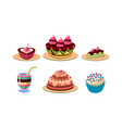 flat set of tasty desserts appetizing vector image