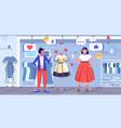 girls couple choosing new dress women customers vector image vector image