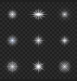 glow light effect starburst with sparkles vector image