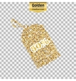 Gold glitter icon of tag discounted vector image