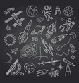 hand drawn space elements on black vector image vector image