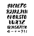 Hand written alphabet with numbers and symbols vector image