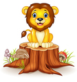 Happy cartoon lion sitting on tree stump vector image vector image