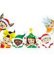 happy kids in christmas costumes vector image