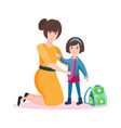 happy mum with daughter vector image vector image