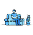 home sofa working icon outline style vector image vector image