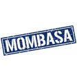mombasa blue square stamp vector image vector image