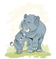 mother a little elephant vector image vector image