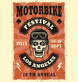 motorbike festival colored vintage poster vector image vector image