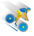 mountain bike cartoon cyclist down the mountain vector image vector image