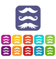 moustaches icons set vector image vector image