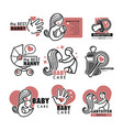 nanny service or babysitter agency isolated icons vector image vector image