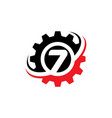 number 7 gear logo design template vector image vector image