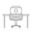 office desk with computer black and white vector image