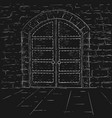 old castle doors hand drawn sketch vector image