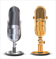 Old microphone gold and silver vector image