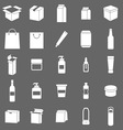 Packaging icons on gray background vector image