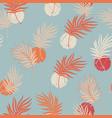 palm leaf line art seamless pattern on pastel vector image
