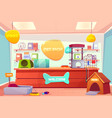 pet shop interior domestic animal store with desk vector image vector image
