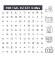 real estate editable line icons 100 set vector image vector image