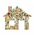 Real estate icons in a house vector image