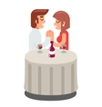 Romantic beloved dating man woman food dinner wine vector image