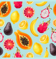 seamless pattern with sliced exotic fruits vector image