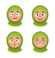 set of arab girl with hijab scared face expression vector image