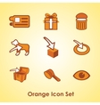 Set of nine different orange objects vector image vector image