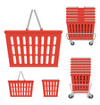 set of plastic red shopping basket vector image